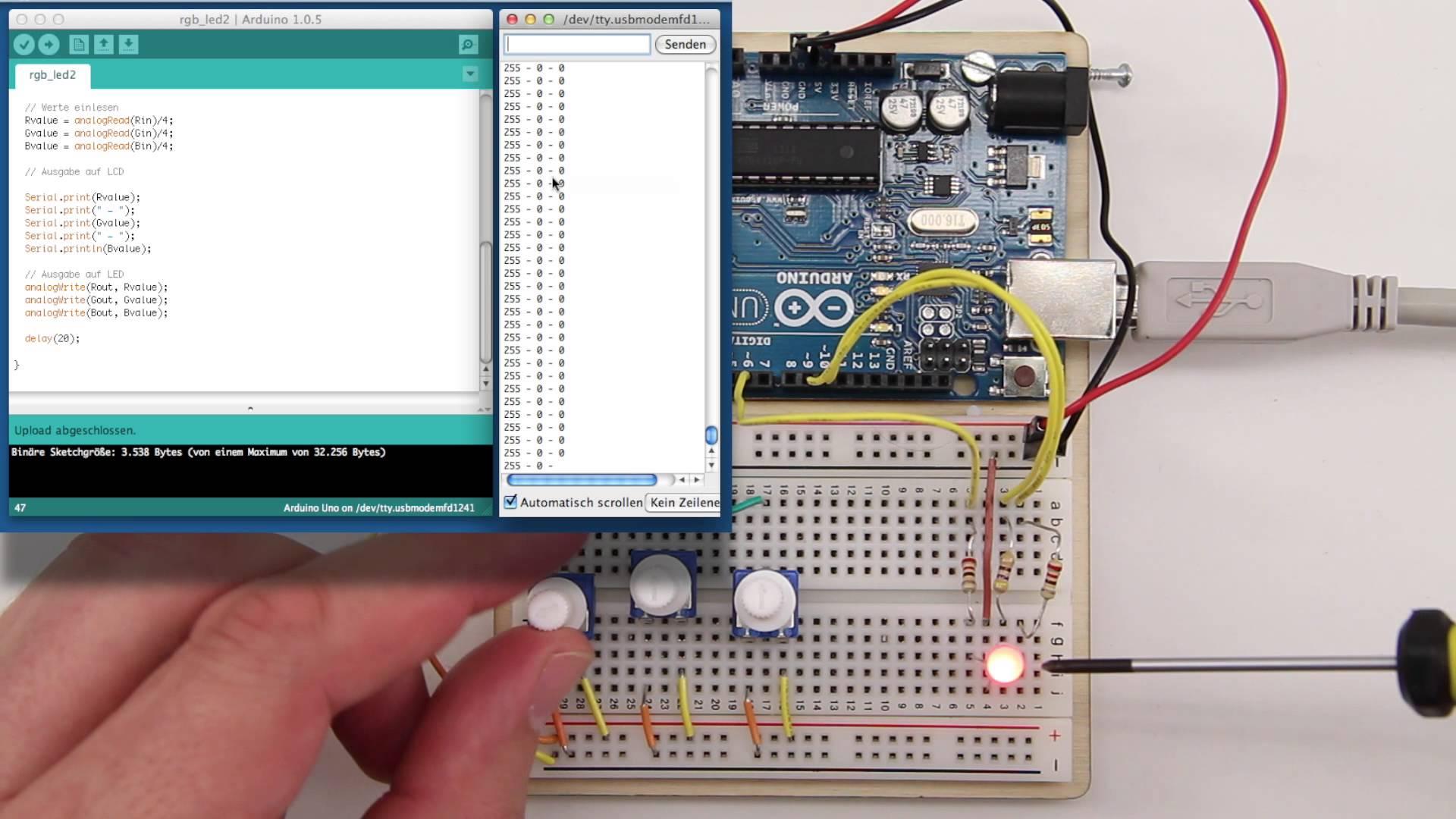Eine RGB LED am Arduino betreiben
