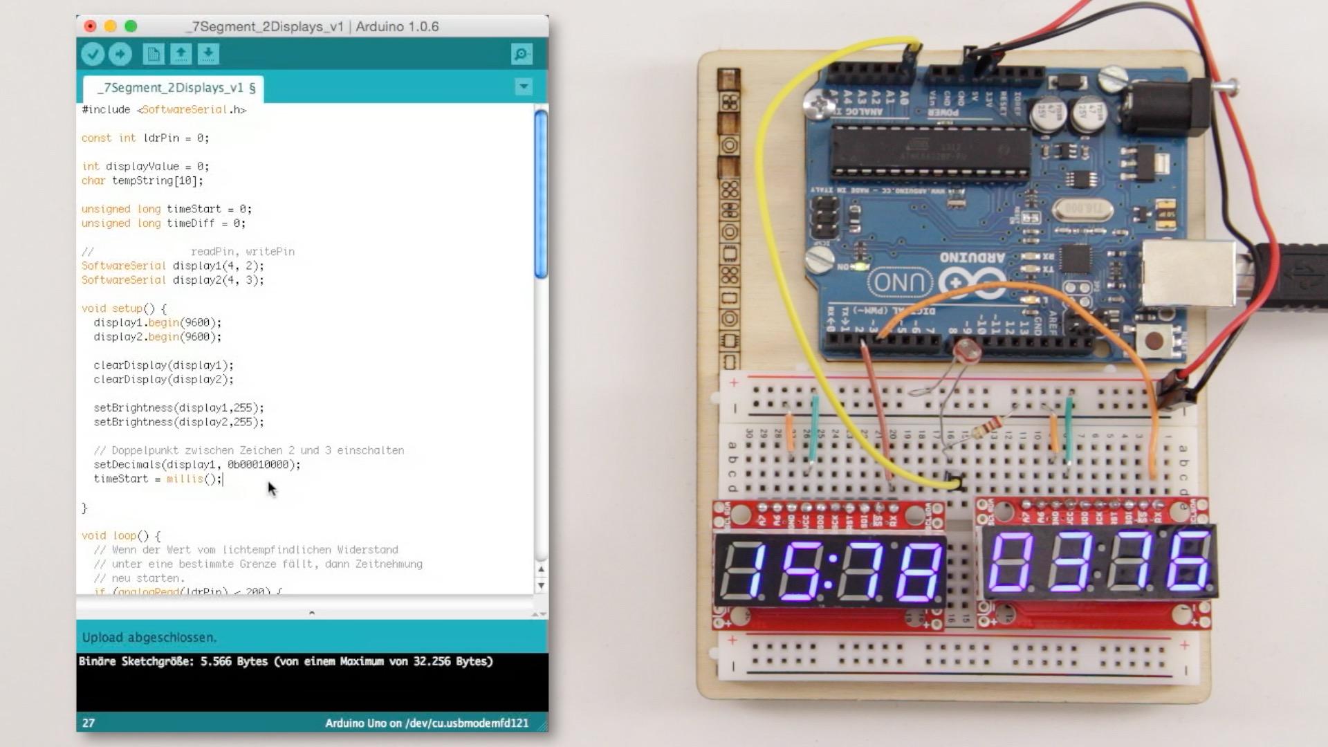 Mehrere serielle 7-Segment-Displays gleichzeitig am Arduino betreiben