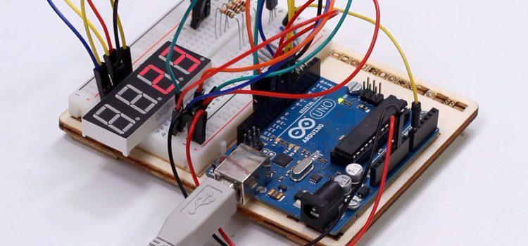 Arduino Thermometer mit TMP36 Temperatursensor und 7-Segment-Display