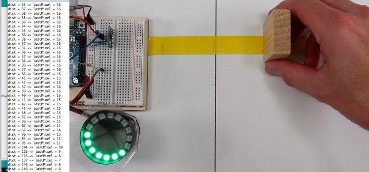 Arduino Einparkhilfe mit VL53L0X IR Laser Entfernungssensor und WS2812B NeoPixels