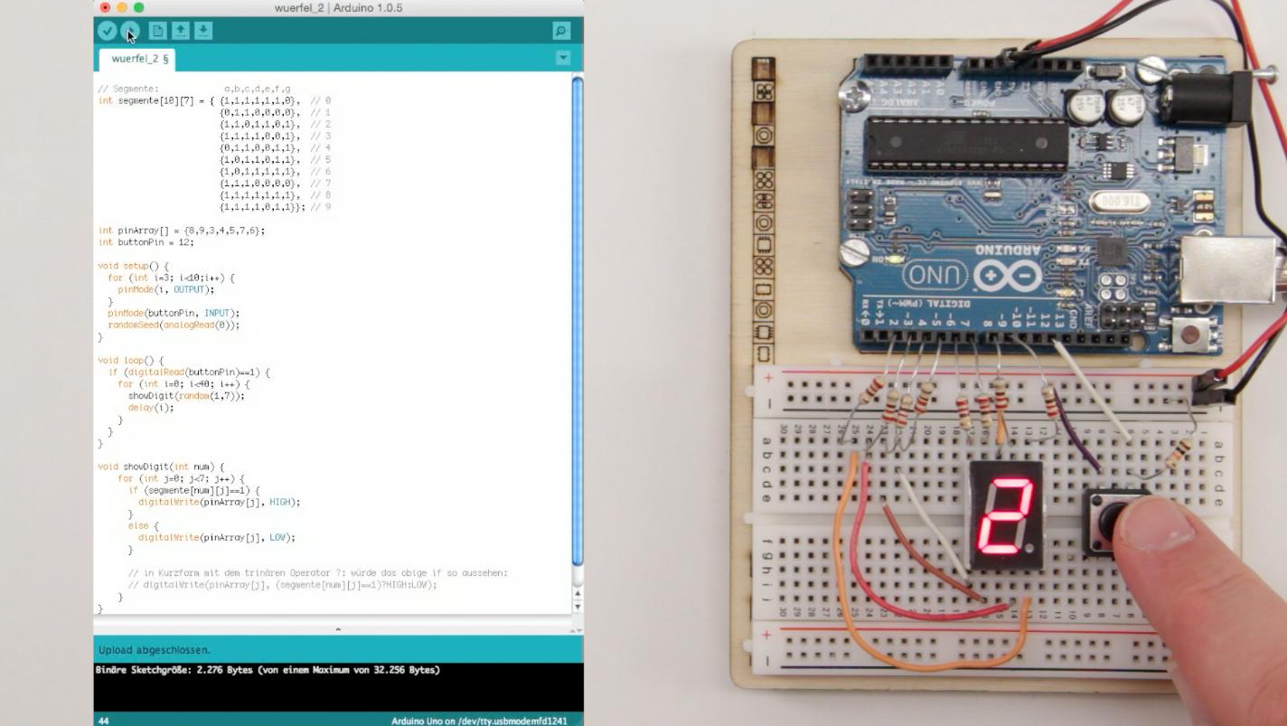 Würfelspiel: Sieben-Segment-Display am Arduino