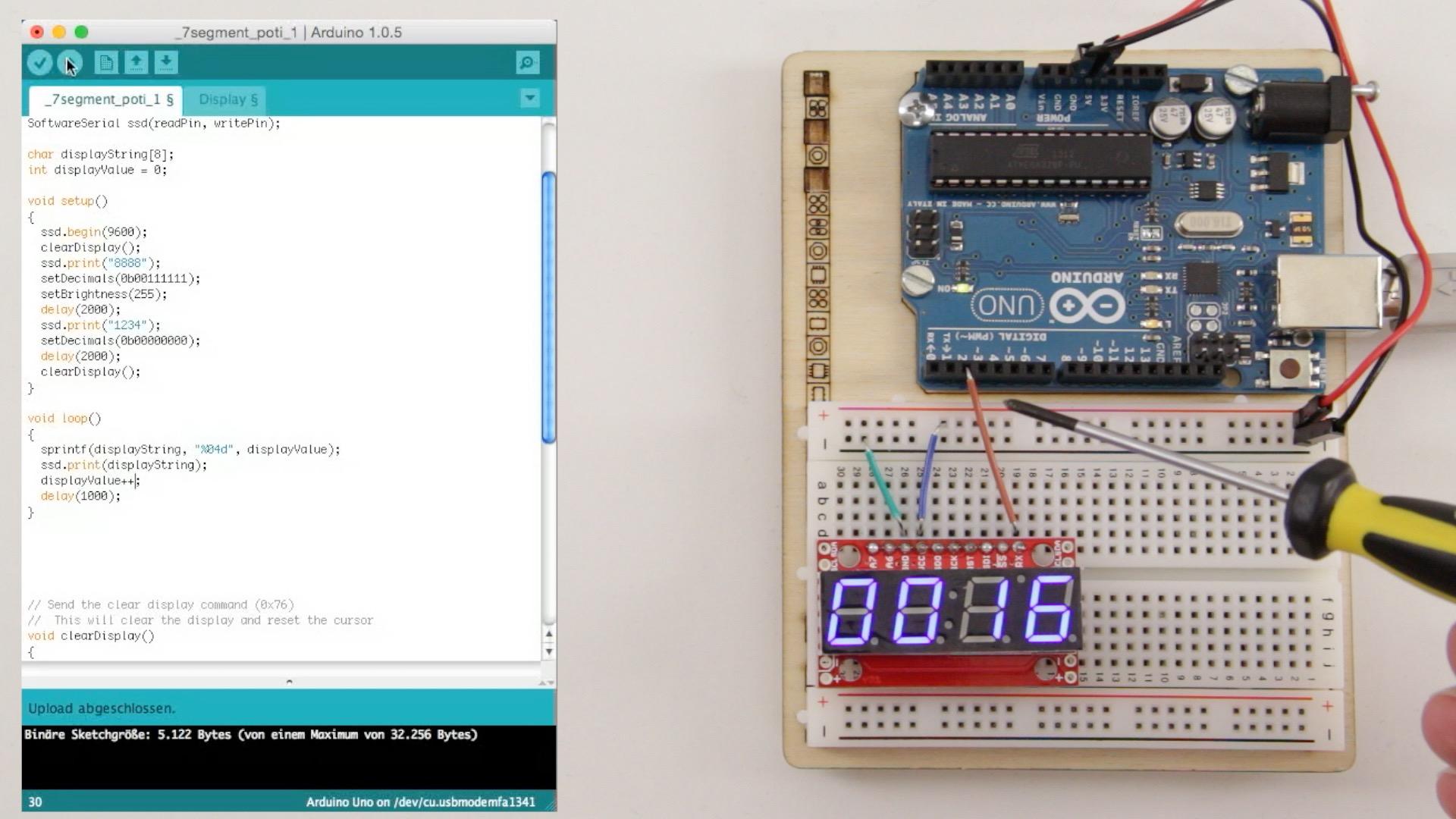 Arduino Projekt: 4-stelliges serielles 7-Segment Display am Arduino betreiben – Teil 1
